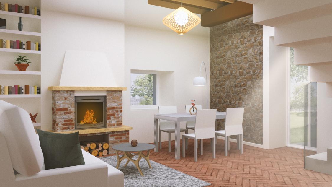 Interior design render salotto